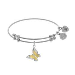 Brass with Yellow+White Butterfly Charm On White Angelica Bangle