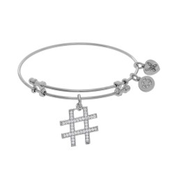 Brass with White Finish Hash Tag Charm On White Angelica Bangle