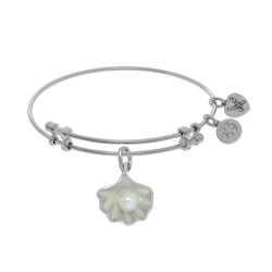 Brass with White Finish Charm with Pearl Enclosed Shell On White Angelica Bangle