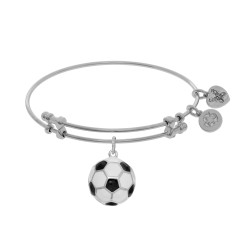 Brass with White Finish Charm with Black+White Enamel Soccer Ball On White Angelica Bangle