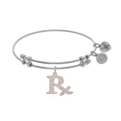 Brass with White Finish Rx Symbol Charm On White Angelica Bangle