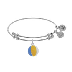 Brass with White Beach Ball Enamel Charm On White Angelica Bangle