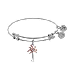 Brass with Pink+White Palm Tree Two Tone Charm On White Angelica Bangle