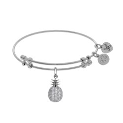 Brass with White Pineapple Charm with Cz On White Angelica Bangle