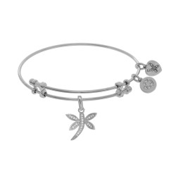 Brass with White Dragonfly Charm On White Angelic A Bangle