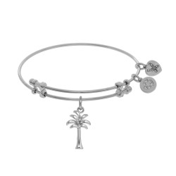 Brass with White Shiny Palm Tree Charm On White Angelica Bangle