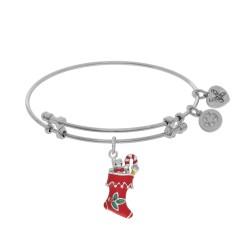 Brass with White Xmas Sock Enamel Charm On White A Ngelica Bangle