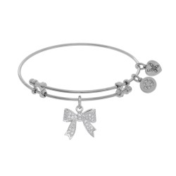 Brass with White Bow Charm with Cz On White Angelica Bangle