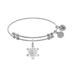 Brass with White Snowflake Charm with Cz On White Angelica Bangle
