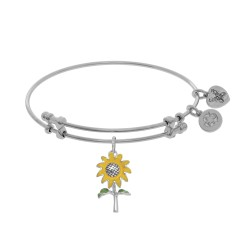 Brass with White Sunflower Enamel Charm On White A Ngelica Bangle
