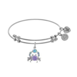 Brass with White Created Opal Crab Charm On White Angelica Bangle
