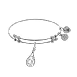 Brass with White Tennis Raquet Charm On White Angelica Bangle