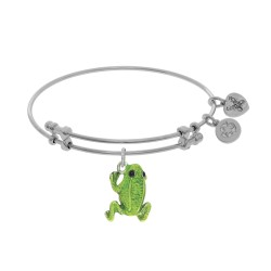Brass with White Green Frog Enamel Charm On White Angelica Bangle