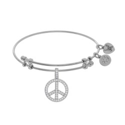 Brass with White Peace Charm with Cz On White Angelica Bangle