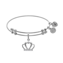 Brass with White Cz Crown Charm On White Angelica Bangle