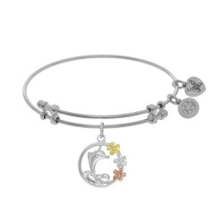 Brass with Pink+Yellow+White Dolphin with Flowers Two Tone Charm On White Angelica Bangle