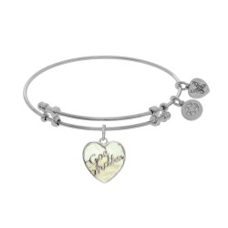 Brass with Godmother Heart Shaped Charm with Created Mop On White Angelica Bangle