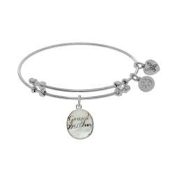 Brass with White Finish Charm On White Angelica Tween Bangle