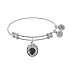 Brass with Oval Turtle with Black Cz with Created +Mop On White Angelica Bangle