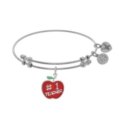Brass with Enamel Teacher Charm On White Angelica Bangle