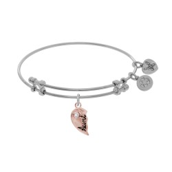 Brass with Aunt Right-Half Charm with Cz On White Angelica Bangle