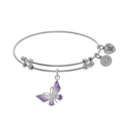 Brass with White Butterfly Charm with White To Pink Fading Enamel On White Bangle