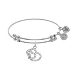 Brass with White Double Heart Charm with White Cz On White Bangle