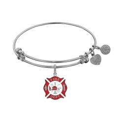 Non-Antique White Stipple Finish Brass with Red+ White Enamel Fire-Fighter Angelica Bangle