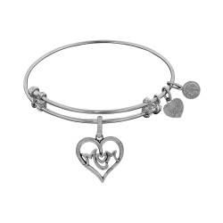 Brass with White Finish M-Heart-M Charm for Angelica Bangle