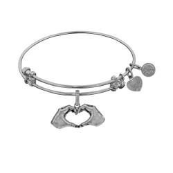 Brass with White Finish Heart Made with Hands Charm for Angelica Bangle