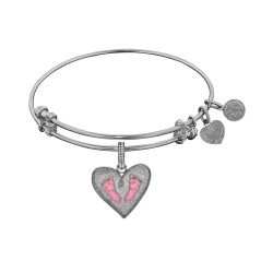 Brass with White Finish Pink Enamel Baby Foot Print Charm for Angelica Bangle