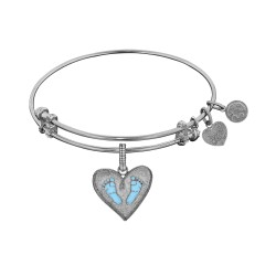 Brass with White Finish Blue Enamel Baby Foot Print Charm for Angelica Bangle