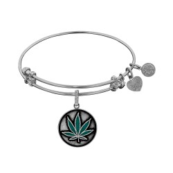 Brass with White Finish Cannabis Enamel Charm for Angelica Bangle