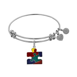 Brass with White Finish Autism Awareness Enamel Charm for Angelica Bangle