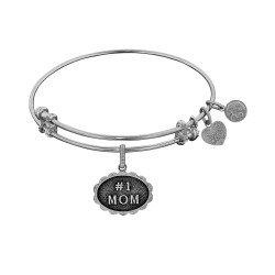 Brass with White Finish #1 Mom  Charm for Angelica Bangle