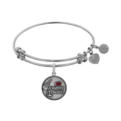 Brass with White Finish I Love Country Music Enamel Charm for Angelica Bangle