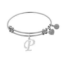Brass with White Finish  Initial P  Charm for Angelica Bangle