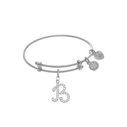 Brass with White Finish Charm Initial B On White A Ngelica Tween Bangle