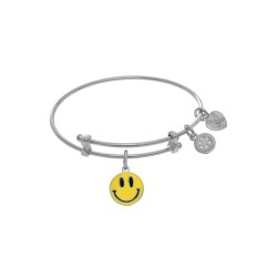 Brass with Enamel Smily Face Charm On White Angeli Ca Tween Bangle