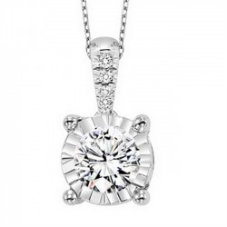 This elegant 14K White Gold diamond pendant is set with 4 round-cut diamonds, totaling 1/4 ctw