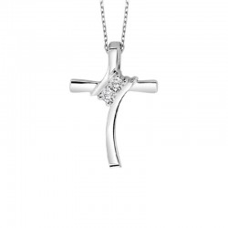 Twogether  Sterling Silver Diamond Cross Pendant