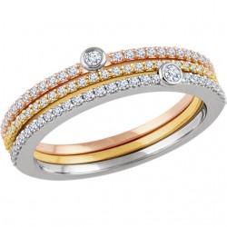 14K White, Yellow & Rose 3/8 CTW Diamond Set of 3 Stackable Rings
