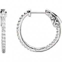 Platinum 1/2 CTW Diamond Inside/Outside Hoop Earrings