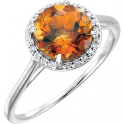 14K White Citrine and .05CTW Diamond Ring