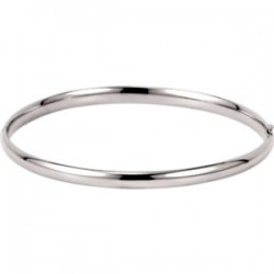 14K White 4mm Hinged Bangle Bracelet
