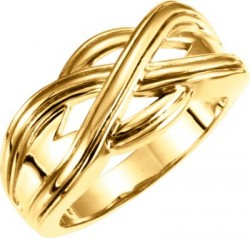 14K Yellow Woven Design Band