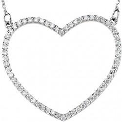 "14K White 1/10 CTW Diamond Petite Heart 16"" Necklace"
