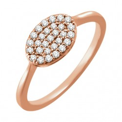 14K Rose 1/5 CTW Diamond Oval Cluster Ring
