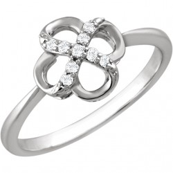 Sterling Silver .08 CTW Diamond Ring