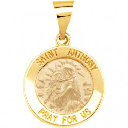 14K Yellow 15mm Round Hollow St. Anthony Medal